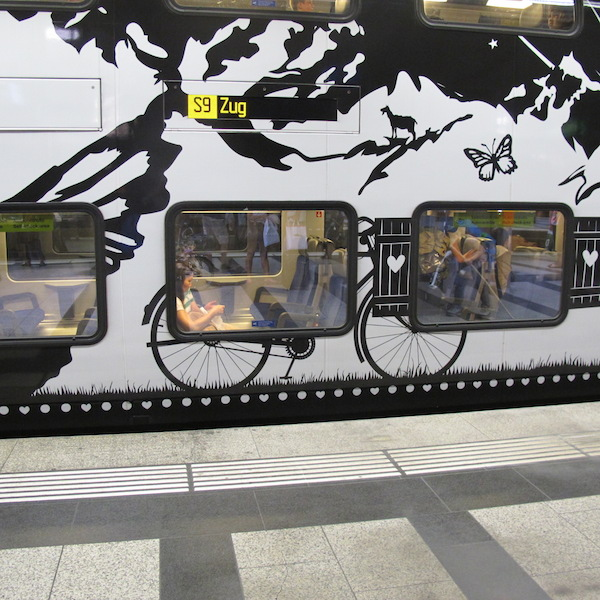 The artwork on the side of a Swiss train.