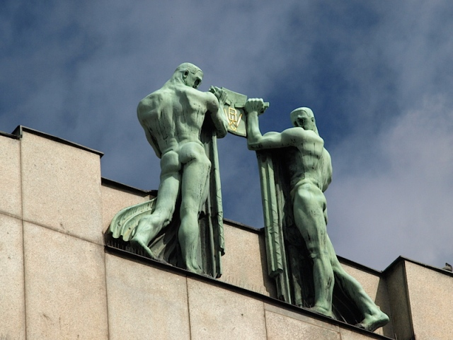 A beautiful piece of art deco sculpture. These fine chaps were about 25 metres up on a building parapet.