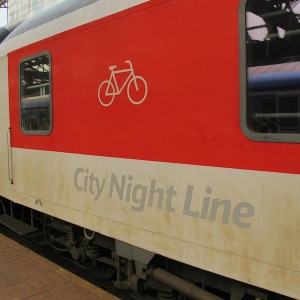 City Night Line cycle carriage.  The outside of some German trains look a bit grubby but the inside was clean and comfortable.