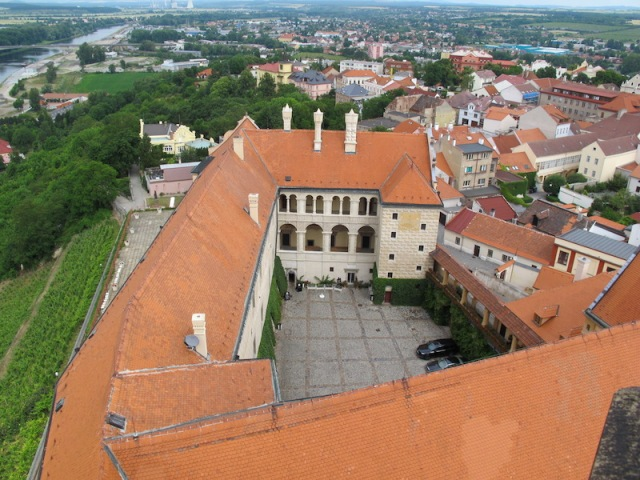 View north from the bell tower. Elbe River top left corner and the Renaissance era Melnik Castle in foreground. During WW2 the German forces occupied the castle