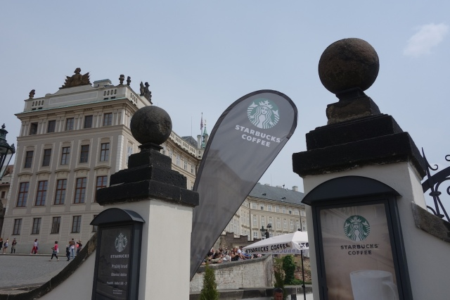 Starbucks and the Prague Palace co-operating nicely. Another anachronism!