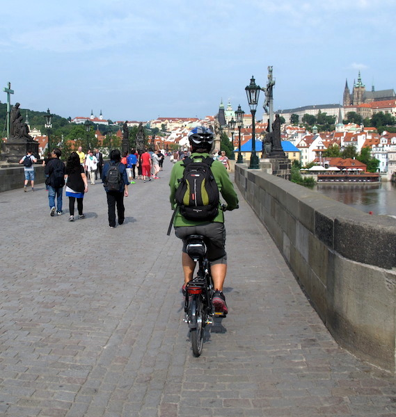Bev doing it (crossing the Charles Bridge) so she can say she's done it.
