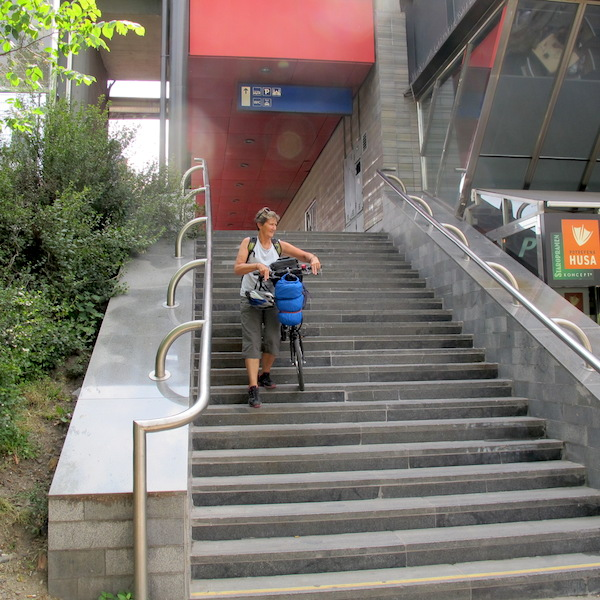 Bev coming down off the Prague railway station. We found out a few days later there was a lift and a main entrance!