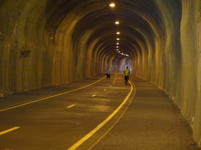 The old railway tunnel, part of the Vitkov bike path.
