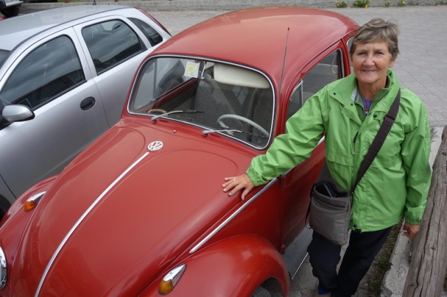 A red Beetle like our 'Volvee'. The only difference between this one and the one we travelled in was ours had a sun roof. I'm sure Bev would love to have a Beetle once again.