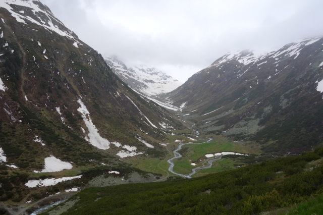 A valley carved by an ancient glacier.