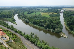 View of the convergent point of the two rivers (left) from the St Peter and Paul church tower in Melnik. The waterway on the right is a lock diversion channel.