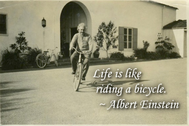 Einstein on his bike 1930.