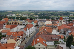 View of Melnik's main square from St P & P church tower.