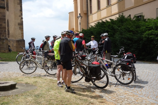 A few of the many cyclists riding the Elbe.