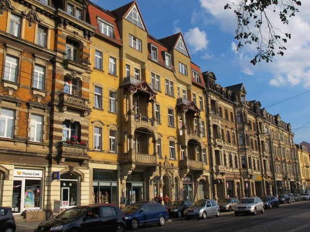 Ornate apartments in the street in which our pension is located. These buildings were not destroyed during WW2 bombings as they are located outside the city centre.