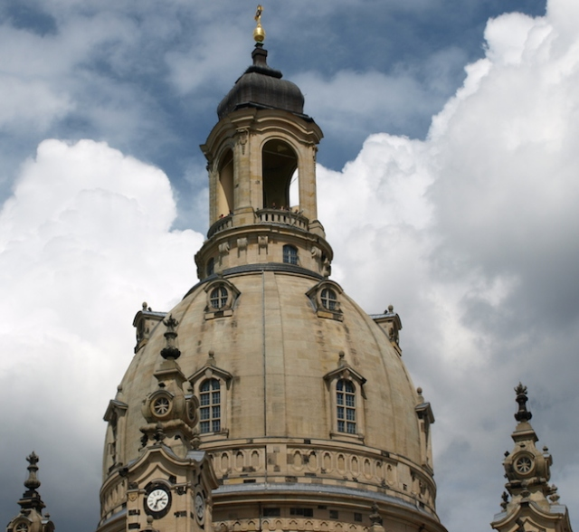 The dome, known as the Stone Bell, on top of the Dresden Frauenkirche Church.