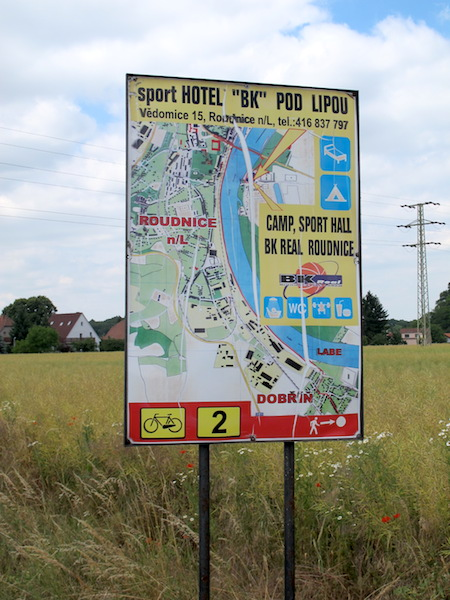 Lavish sign inviting cyclists to stay at the 'Sport Hotel' Roudnice nad Labem