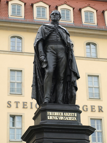 King Frederick Augustus ll, ruler of Saxony (1836-1854), dusted off and touched up, stands in all his glory.