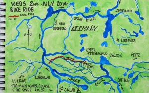 Map showing the Spreewald waterways and our camp at Calau (bottom middle of map).