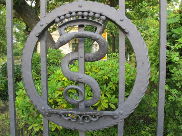 Typical snake symbol on a front gate.