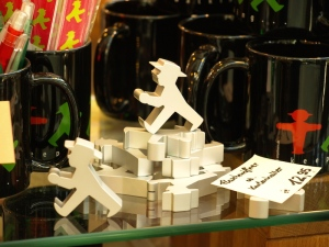 Ampelmann building blocks, mugs, pens and bookmarks.