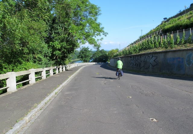 Bev gliding down the bike path (closed to vehicles) to the Elbe River immediately after leaving Melnik town.