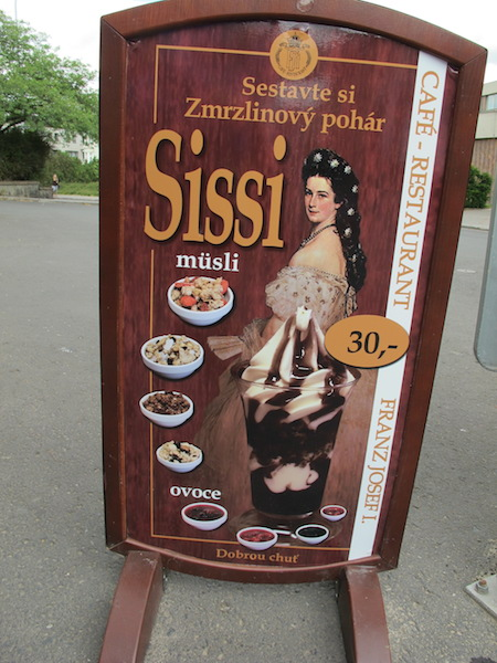 This advertisement appeared outside a shop near the entrance to Decin Castle.