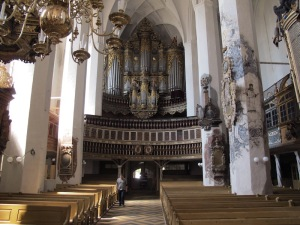 Overwhelming interior of the Luckau church.