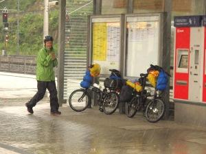Seeking shelter at Bad Schandau railway station.
