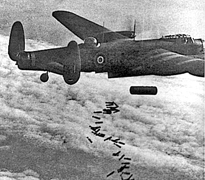 Lancaster bomber, the type of aircraft used by the RAF when bombing Dresden. Uploaded to Wikipedia by Andy Dingley