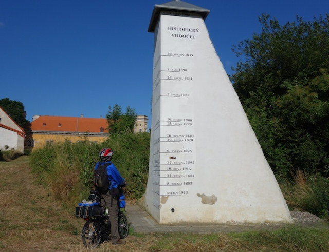 Flood marker near Dolni Castle.