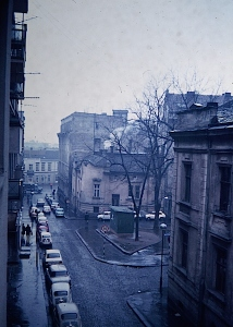 A typical dreary Communist country street in 1972.