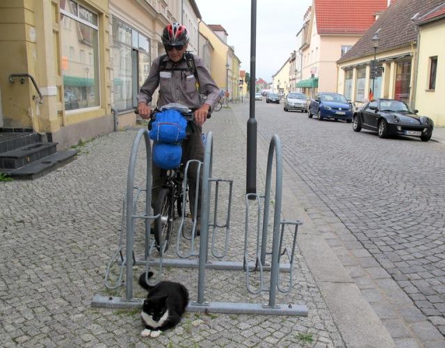 Guardian of the bike rack in Eisenhuttenstadt old town.