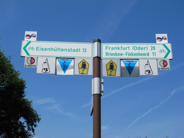 A colourful sign at the start of the D12 bike path.