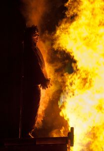 Guy Fawkes on the bonfire was replaced with an effigy of Hitler.  Image by William Warby via Wikipedia.