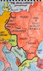 Iron Curtain map.  The heavy black line indicates the position of the Iron Curtain.