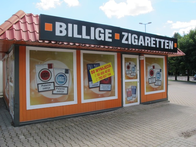 One of the many tobacco shops across the Polish border.