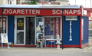 A three-in-one container cigarette, alcohol and solarium shop.