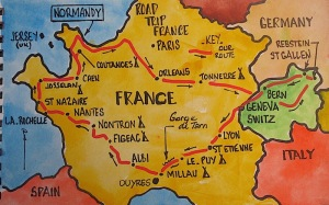 Map showing our route through France.