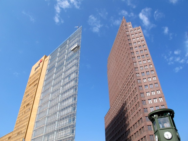 The wedge-shaped building on the left makes me think about a divided Berlin.