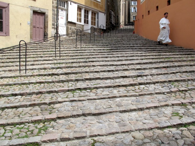 Near the start of the walk in Le Puy. Walkers will encounter many kilometres of beautiful cobblestone paths like this.