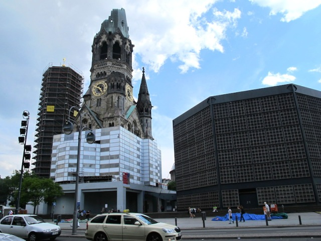 The old and new merging once again. The old Kaiser Wilhelm Church (centre and the New Church on the right).