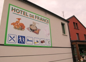 The first hotel we stayed in: Hotel de France in the village of Chaudreyac.  The owner of the hotel specialised in growing mushrooms.