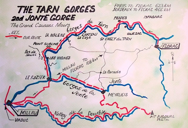 Map showing the Dourbie Valley and the Jonte and Tarn Gorges.