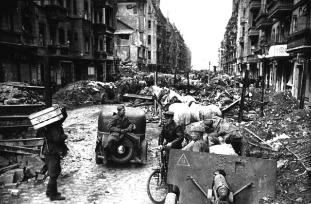 Berlin street after the Battle for Berlin May 1945.