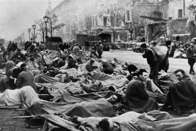 Wounded German soldiers after the Battle for Berlin.