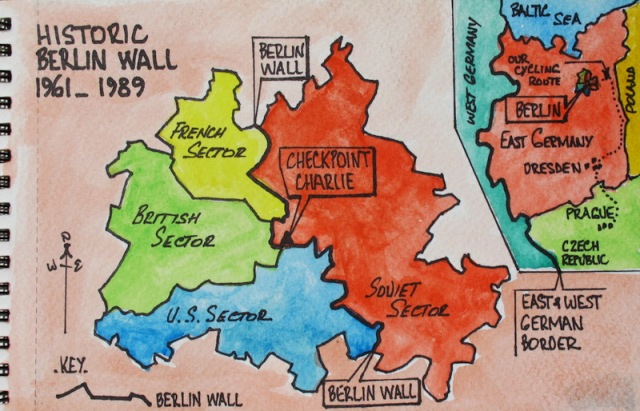 Map showing a divided Berlin.