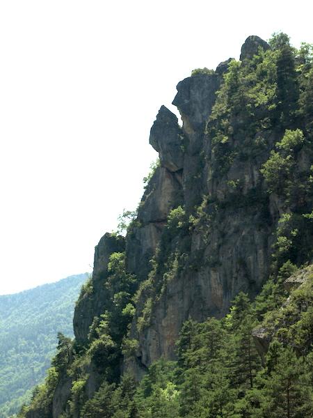 A landslide waiting to happen. View south down the gorge from Roc de la Sourde.