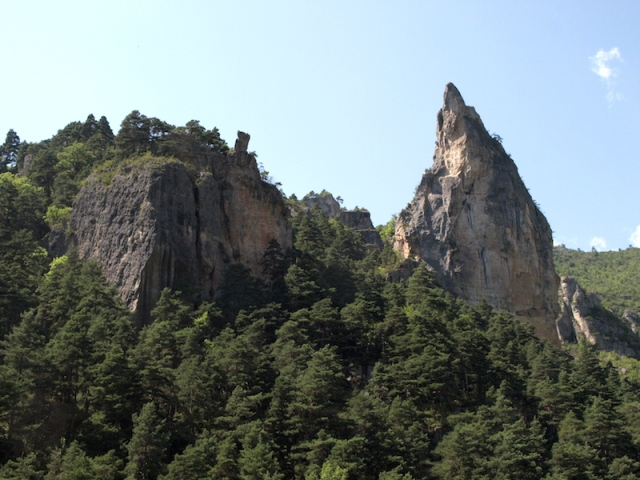 Aiguille Rock, eighty metres high.