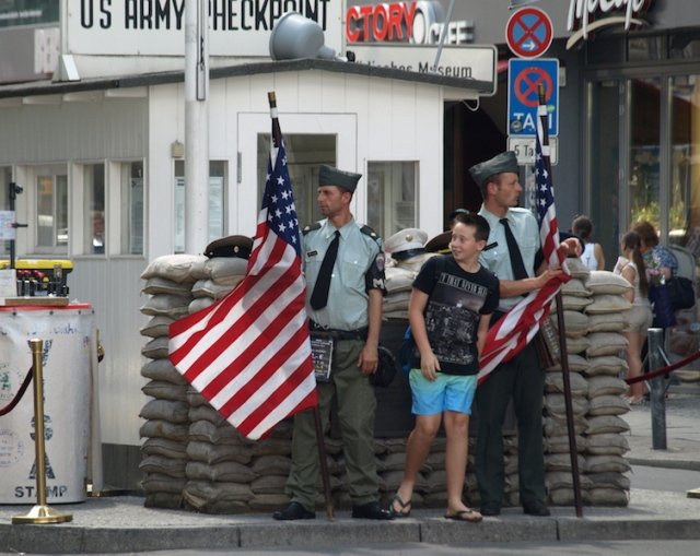 The artificiality of Checkpoint Charlie at Friedrichstrasse.