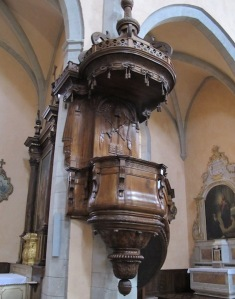Walnut pulpit in the Catholic church at Vabres L' Abbaye.