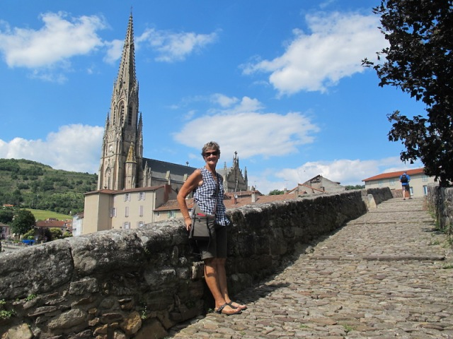 Bev on the old Sorgues Bridge. The church in the background is Our Lady of Mercy.