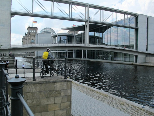 Bike path over a canal central Berlin.