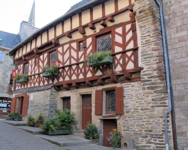 Half-timbered house with timber cross bracing in the town of Josselin.